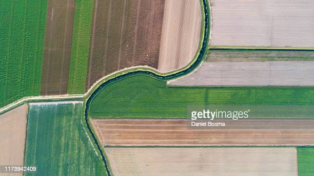 patchwork landscape intersected by a natural stream seen from above - prosperity stockfoto's en -beelden