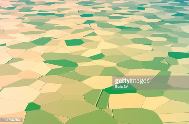 patchwork of agricultural fields, aerial view - patchwork stock pictures, royalty-free photos & images
