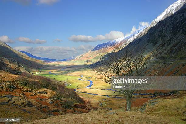 Patchy sunshine through Snowdonia landscape