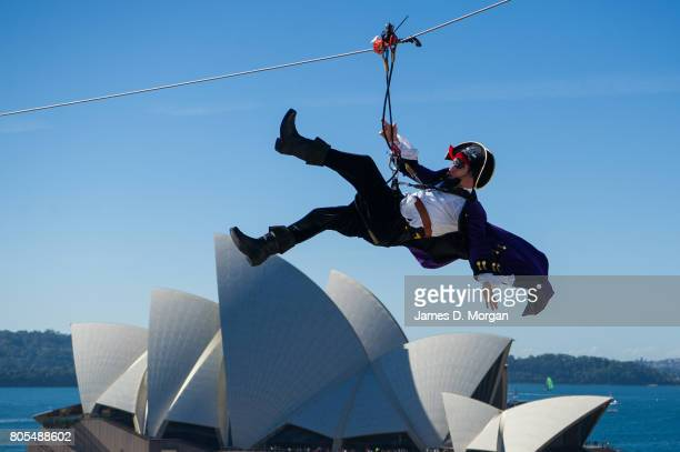 Patchy the pirate ziplines into the official naming ceremony of PO's newest ship 'Pacific Explorer' at the Overseas Passenger Terminal on July 2 2017...