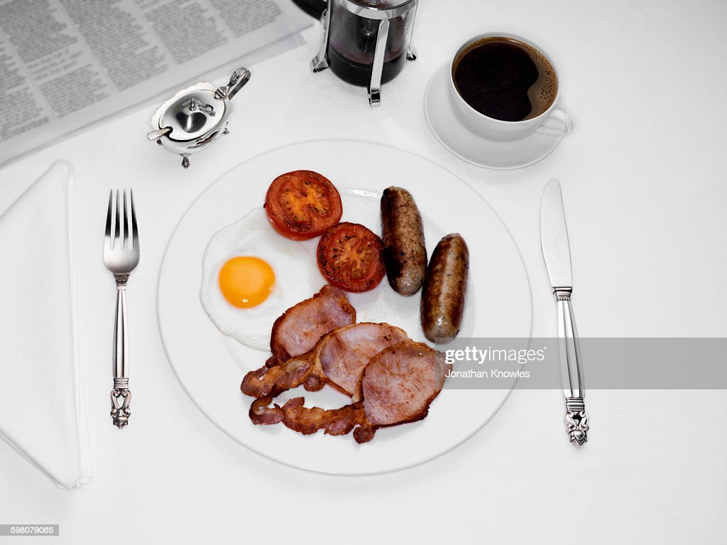 Pate of English Breakfast, coffee and newspaper : Stock Photo