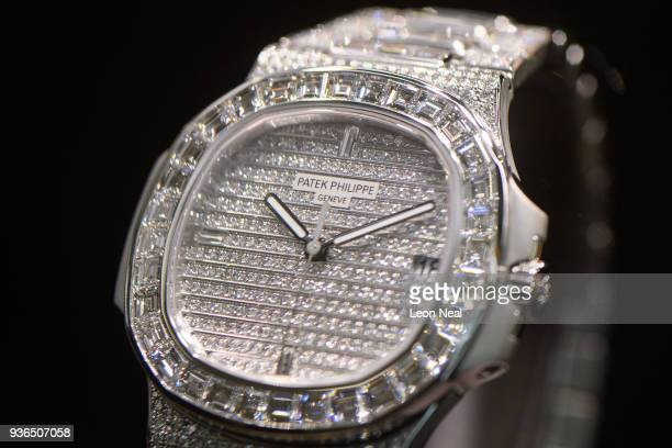 Patek Philippe 5719/1 featuring 1343 diamonds is displayed at the Baselworld watch fair on March 22 2018 in Basel Switzerland The annual watch trade...