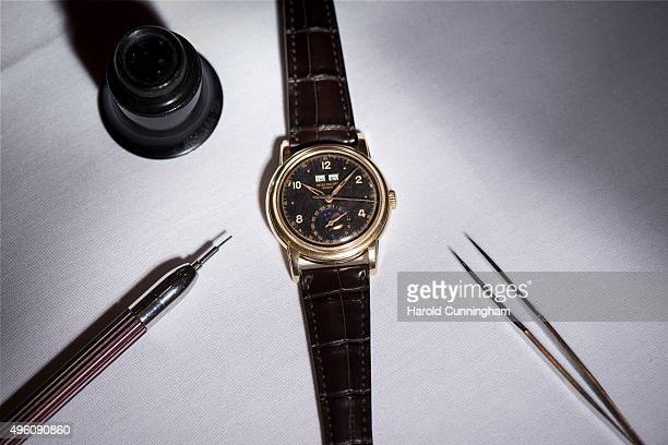 Patek Philippe previoulsy unknown 18k gold perpetual calendar wristwatch with sweep centre seconds moon phases former property of His Majesty King of...