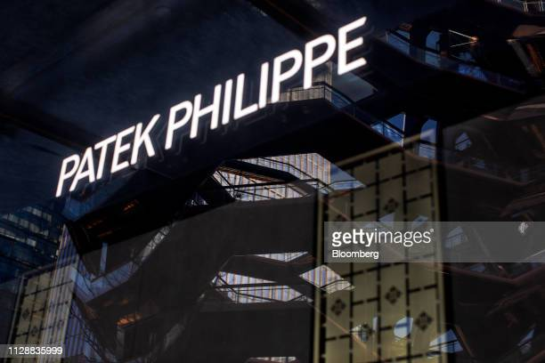 Patek Philippe SA signage is displayed at the Hudson Yards development in New York US on Tuesday March 5 2019 Driving the $25 billion development of...