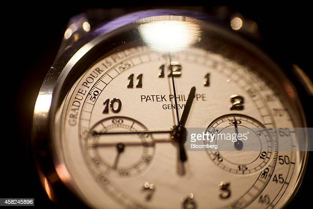 A Patek Philippe SA watch sits on display ahead of Daylight Saving Time at the Tourneau Inc TimeMachine store in New York US on Saturday Nov 1 2014...