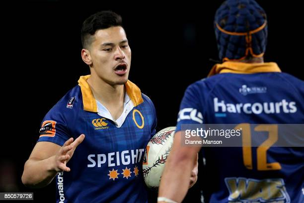 Patelesio Tomkinson of Otago celebrates his try with team-mate Teihorangi Walden during the round six Mitre 10 Cup match between Otago and Auckland...