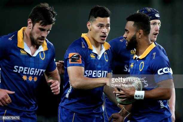 Patelesio Tomkinson of Otago celebrates his try with teammates during the round six Mitre 10 Cup match between Otago and Auckland at Forsyth Barr...