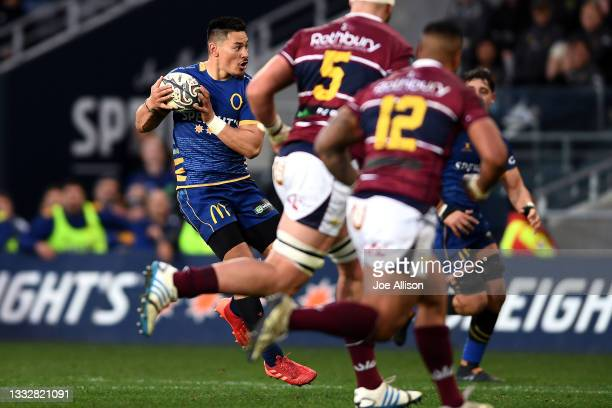 Patelesio Tomkinson of Otago runs with the ball during the round one Bunnings NPC match between Otago and Southland at Forsyth Barr Stadium, on...