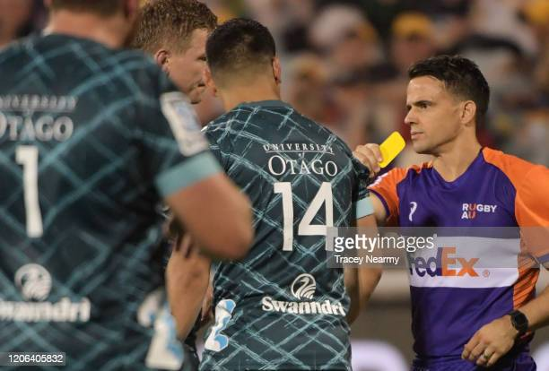 Patelsio Tomkinson of the Highlanders is given a yellow card during the round 3 Super Rugby match between the Brumbies and the Highlanders at GIO...