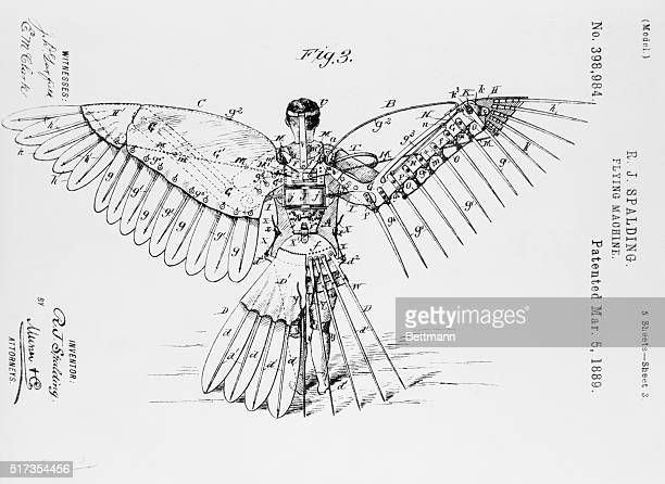 """Patent drawing, invention by R.J. Spalding - """"Flying Machine."""" March 5, 1889."""