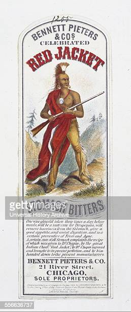 Patent medicine label for Bennett Pieters Co celebrated Red Jacket stomach bitters The label depicts a Seneca chief Red Jacket holding a rifle Dated...
