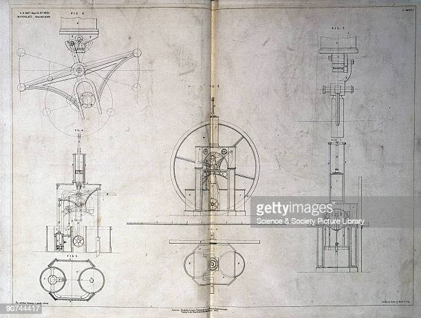 Patent specification drawing featuring steam engines drawn on stone by Malby Sons Henry Maudslay English engineer invented the first metal lathe...