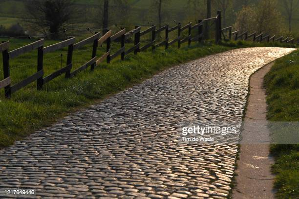 Patersberg / No public and fans this year at Tour of Flanders Famous Cobblestone Hills / Cobblestones / Detail view / on April 07, 2020 in...