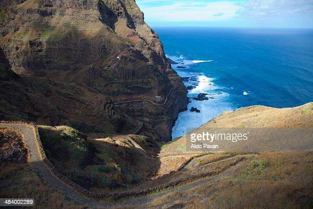 path along the coast, sao antao island, fontainhas - cabo verde fotografías e imágenes de stock