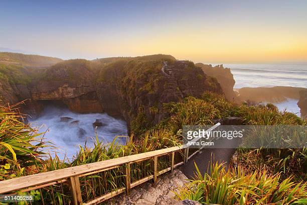 Path at Pancake Rocks, sunset, New Zealand