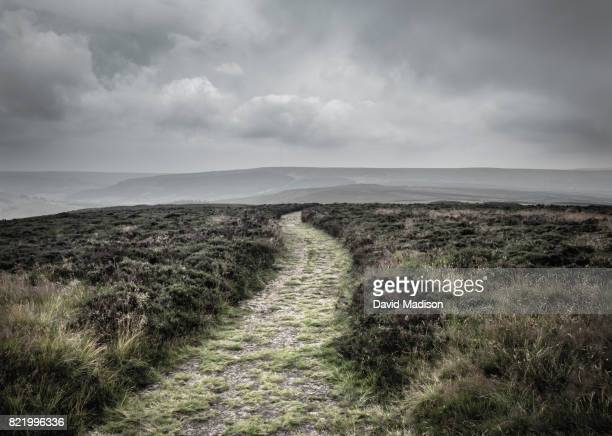 path in the north york moors national park - sturmbewölkung stock-fotos und bilder