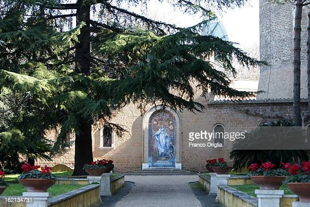 A path inside the Vatican Gardens on February 19 2013 in Vatican City Vatican When Pope Benedict XVI steps down on February 28 2013 after almost...