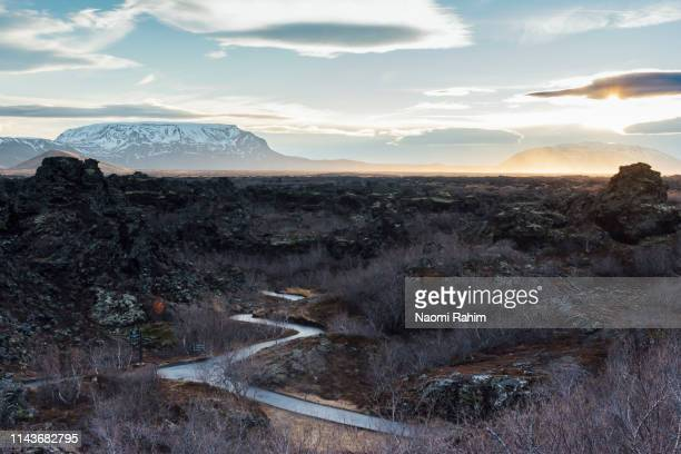 path leading through the ancient dimmuborgir lava fields in the afternoon, near mývatn, iceland - lava plain stock pictures, royalty-free photos & images
