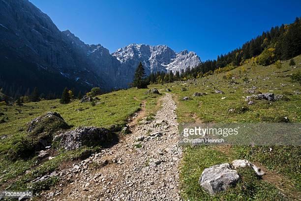 Path leading to the Falkenhuette, mountain cabin in Eng, Ahornboden region, Karwendel Range, Austria, Europe
