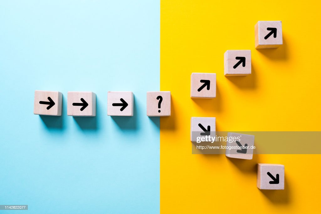 path leads to decision which changes the path in two directions : Stock Photo