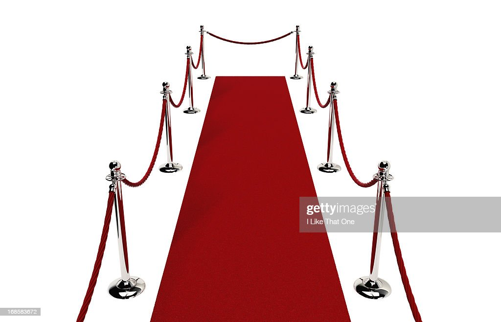 Path of Red carpet & Red rope closed at end : Stock Photo