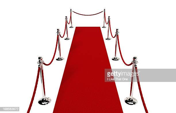 path of red carpet & red rope closed at end - roped off stock photos and pictures