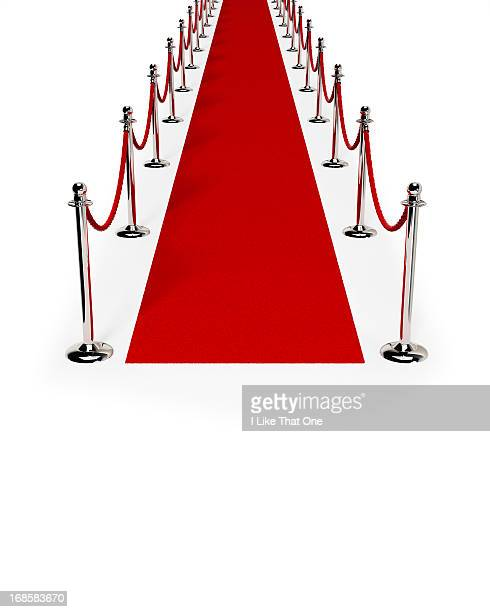 path of red carpet & red rope - gala stock-fotos und bilder