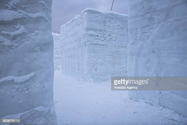 A path of the Giant Maze is seen during the construction of Giant Maze to set a new Guinness World Record as the structure is made of blocks of ice...