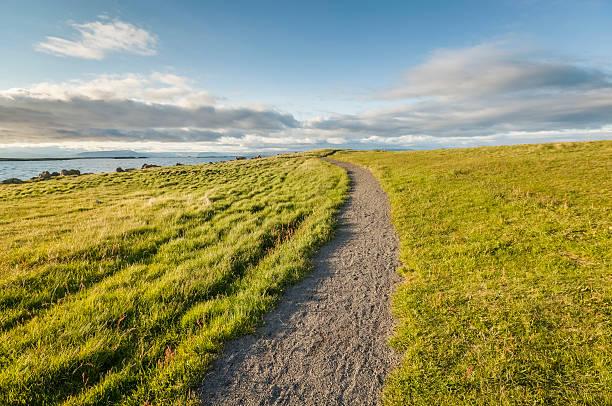 Path On Grassy Hill On Small Island Wall Art
