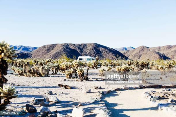 Path through field in desert landscape
