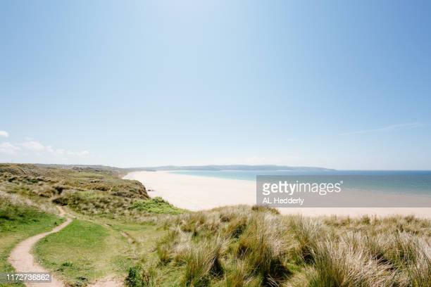 path through the sand dunes at gwithian towans - グイチアン ストックフォトと画像