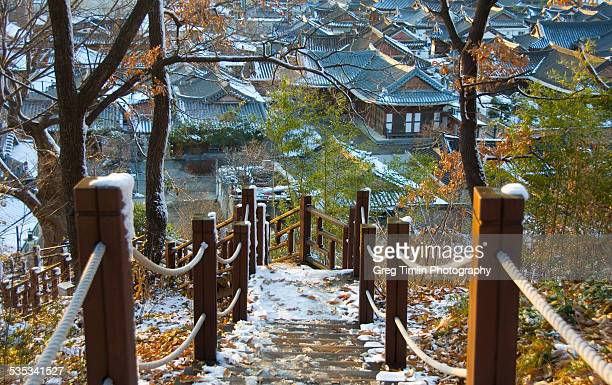 path to frosty old village - jeonju stock photos and pictures