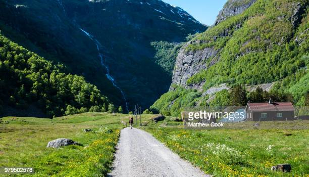 Path to green mountains, Aurlandsfjord, Fjord, Norway