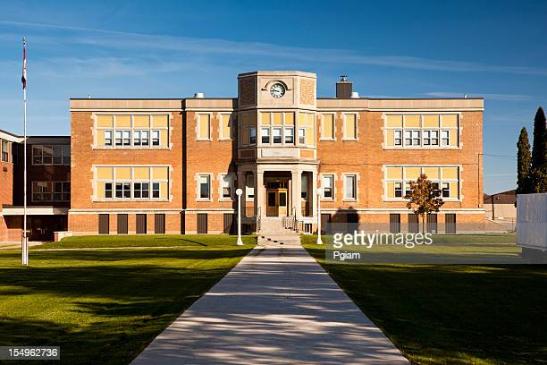 path to high school building exterior - building entrance stock pictures, royalty-free photos & images