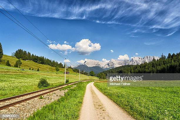 path to karwendel mountain range - bavaria - mittenwald stock pictures, royalty-free photos & images