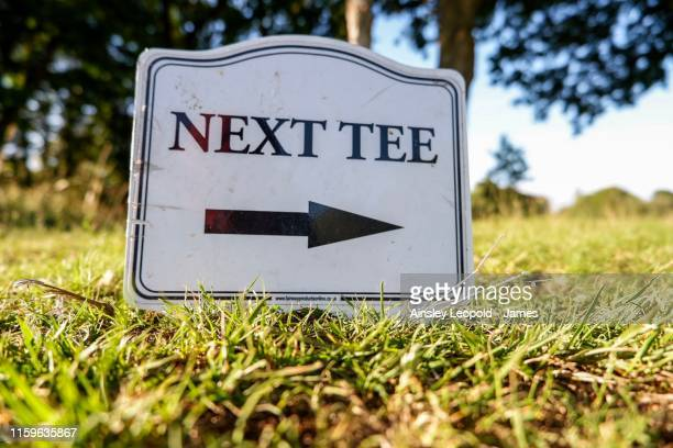 path to next tee set up - golf tournament stock pictures, royalty-free photos & images