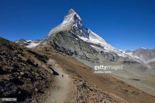 Path, track or trail to the Matterhorn via Hörnli Hut (Hörnlihütte), base camp Matterhorn, a popular route for the ascent of the Matterhorn