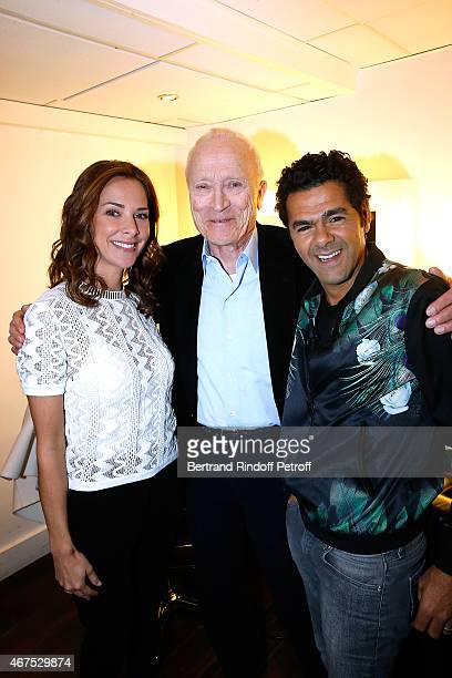 Pathe Jerome Seydoux standing between Main guest of the show Humorist Jamel Debbouze and his wife Melissa Theuriau attend the 'Vivement Dimanche'...