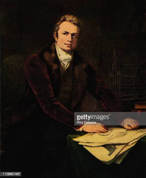 Pathfinders Sir Marc Isambard Brunel' circa 1812 Portrait of Sir Marc Isambard Brunel British engineer and inventor with drawings and a model of the...