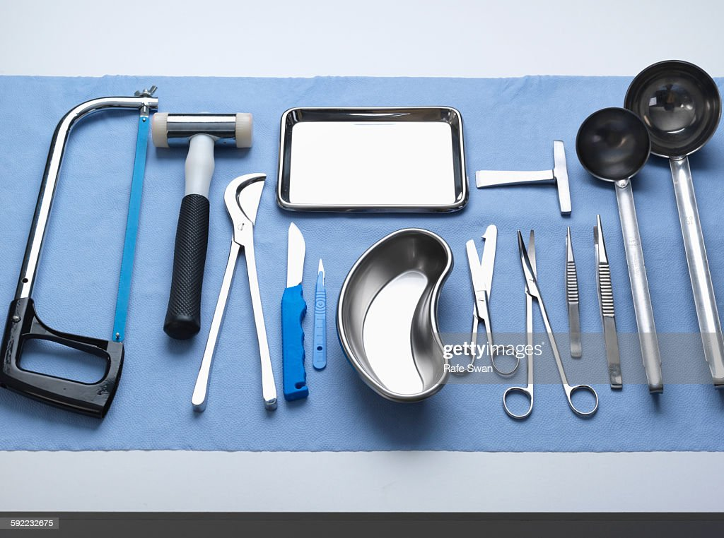 Pathology equipment ready for a autopsy in a laboratory : Stock Photo
