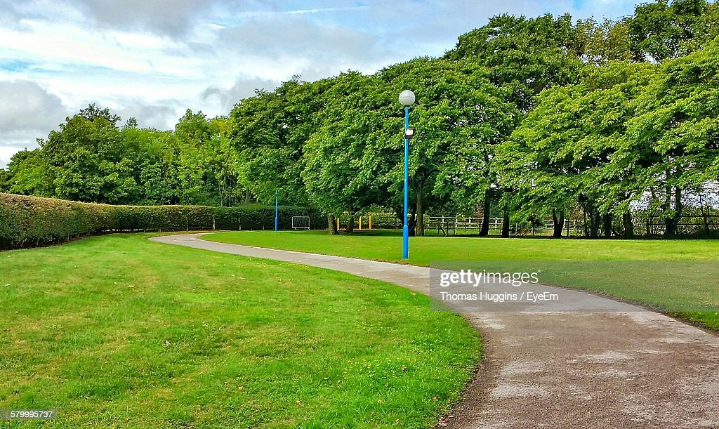 Pathway By Grassy Field At Park : Foto de stock