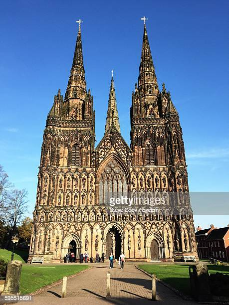Pathway Leading Towards Lichfield Cathedral Against Sky