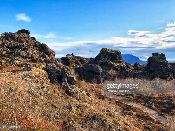pathway through dimmuborgir lava fields - lava plain stock pictures, royalty-free photos & images