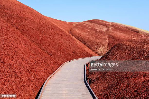 pathway through mars - painted hills stock pictures, royalty-free photos & images