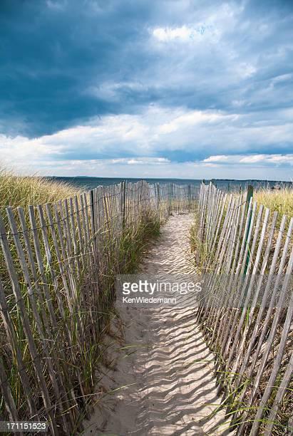 pathway to the beach - september stockfoto's en -beelden