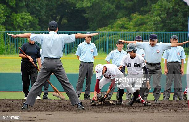 Paticipants attend an umpire training session ahead of the High school baseball championship on June 19 2016 in Kashihara Nara Japan