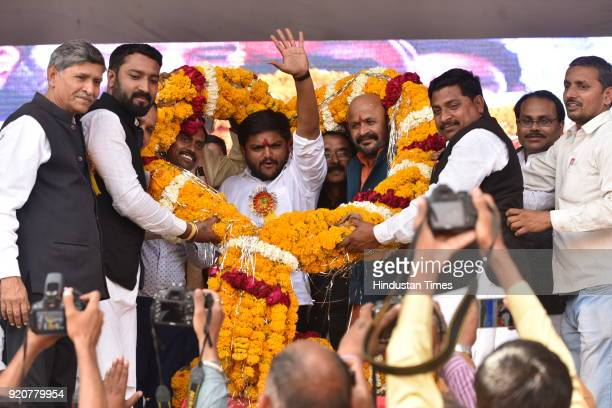 Patidar Anamat Andolan Samiti leader Hardik Patel being welcomed during a public meeting organised to mark the 388th birth anniversary of Chhatrapati...