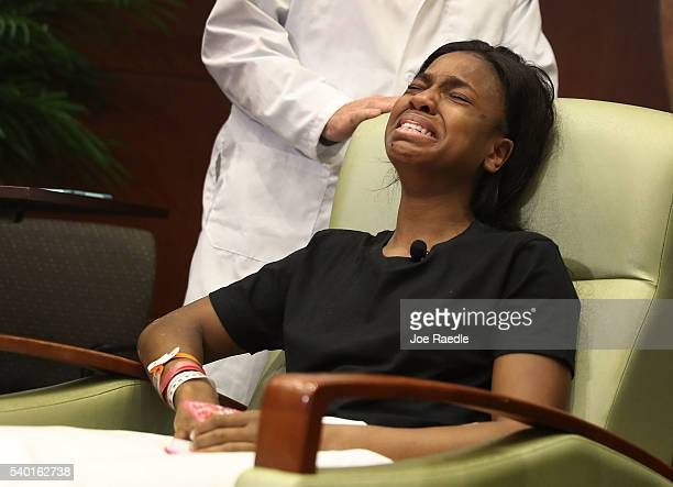 Patience Carter is overcome with emotion after speaking to the media from the Florida Hospital about being shot in the Pulse gay nightclub terror...