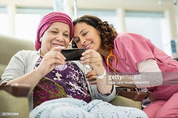 Patient and doctor taking selfie