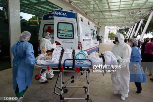 Patient arrives at the 28 de Agosto Hospital in Manaus, Amazon State, Brazil, on January 14 amid the novel coronavirus, COVID-19, pandemic. - Manaus...